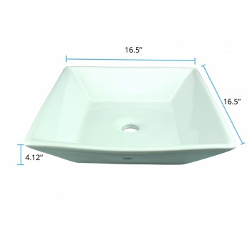 spec-<PRE>Bathroom Vessel Sink Above Counter White Porcelain Square Gloss Finish Art Basin</PRE>