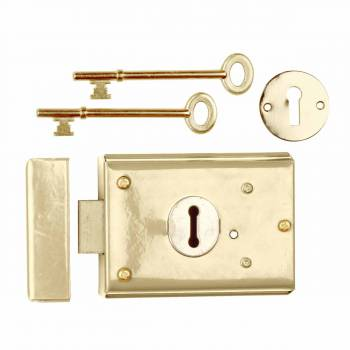 Rim Lock Brass Plated Steel Rim Lock Brass-plated Steel 3H x 4 7/8W in13249grid