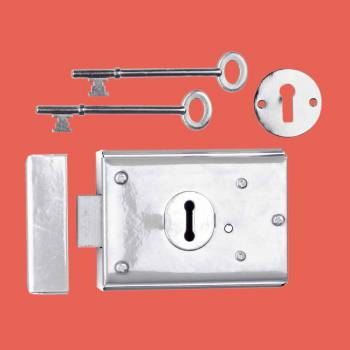 <PRE>Rim Locks Victorian Chrome  3&quot; H x 4 7/8&quot; W </PRE>