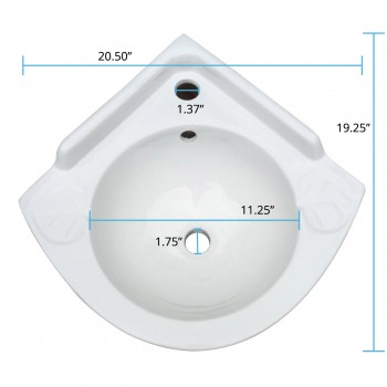 spec-<PRE>Renovator's Supply Vitreous China Small Corner Bathroom Wall Mount Sink</PRE>