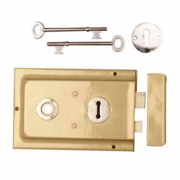 Victorian Rim Lock Brass Plated Steel 6 1/8