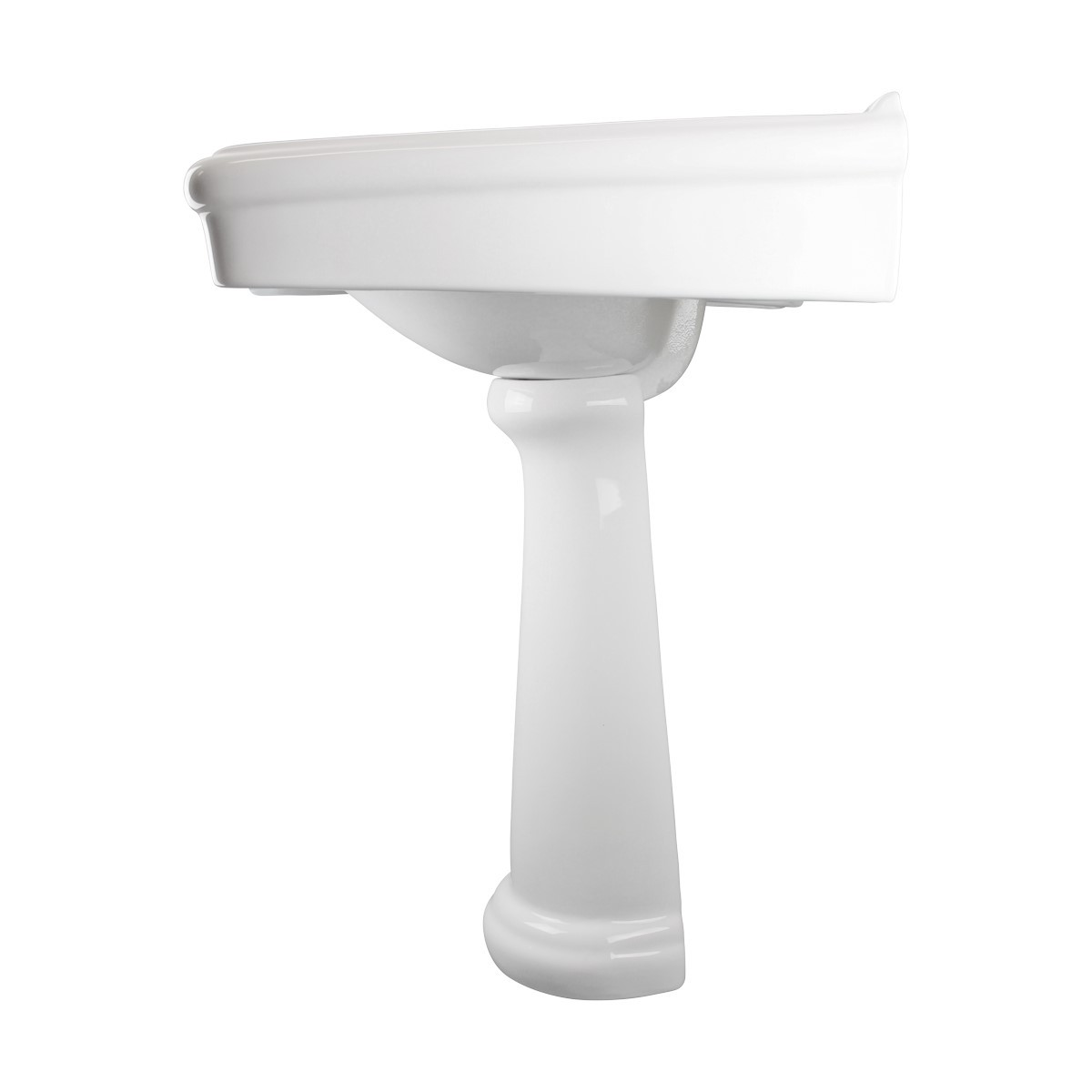 White Widespread Pedestal Sink with Faucet Holes and Overflow Widespread Pedestal Sink Modern Bathroom Pedestal Sink Classic Bathroom Sinks
