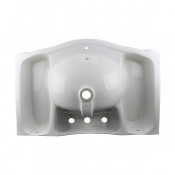 <PRE>White Widespread Pedestal Sink with Faucet Holes and Overflow</PRE>zoom7