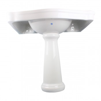 <PRE>White Widespread Pedestal Sink with Faucet Holes and Overflow</PRE>zoom9