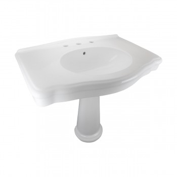 White Widespread Pedestal Sink with Faucet Holes and Overflow