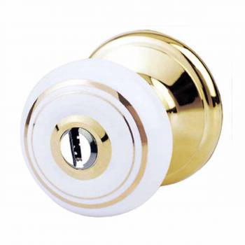 IntExt Keyed Door Knob Lock Set Porcelain Ajustable Backset