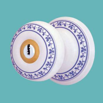 spec-<PRE>Int&amp;Ext Keyed Door Knob Lock Set Porcelain Ajustable Backset </PRE>
