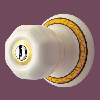 spec-<PRE>Int&Ext Keyed Door Knob Lock Set Porcelain Ajustable Backset </PRE>