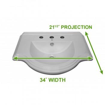 spec-<PRE>Large Bathroom Console Sink 8&quot; Widespread </PRE>