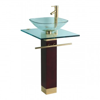 Glass Pedestal Sink Gold PVD Vanity Combo 13327grid