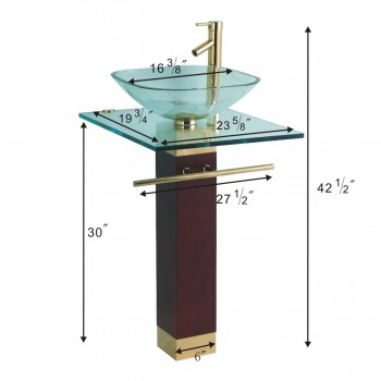 """spec-<PRE>Bohemia 23 5/8"""" Glass Pedestal Bathroom Sink Gold Brass Accents with Towel Bar Faucet and Drain</PRE>"""
