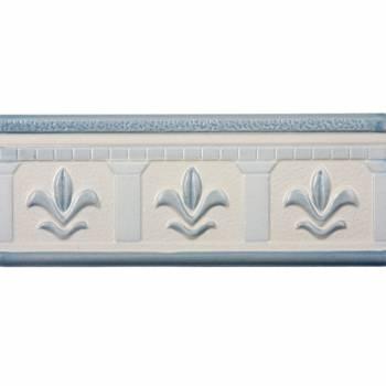 3 x 8 Listello Tile Border Liner Fleur De Lis Ceramic
