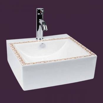 White Bathroom Vessel Sink Painted With Single Faucet Hole Pop Up Drain bathroom vessel sinks Countertop vessel sink Bathroom Vessel Sink