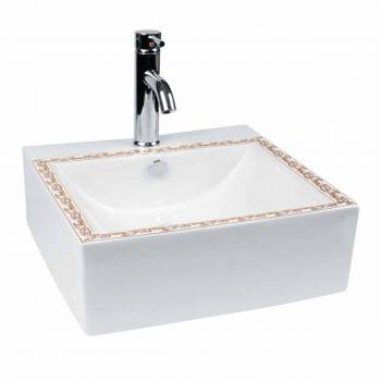 Bathroom Vessel Sink Square White China Painted with Single Faucet Hole13392grid