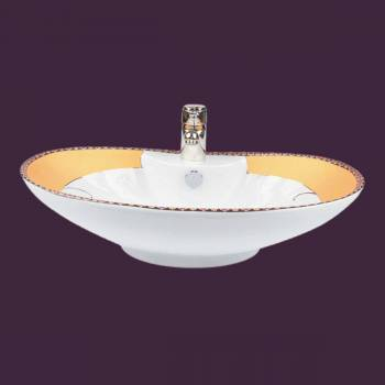 <PRE>inchPhoenix&quot; White Gold Accented Countertop Vessel Sink </PRE>zoom2