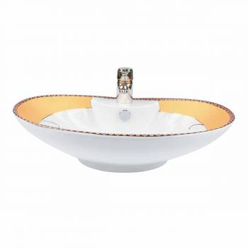 Phoenix White Gold Accented Countertop Vessel Sink