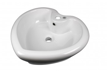 Above Counter Vessel Bathroom Sink Heart White China Faucet13404grid