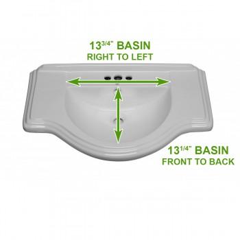 spec-<PRE>White Vitreous China Large Bayside Sink Part </PRE>