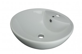 Above Counter Vessel Bathroom Sink White China Faucet Hole