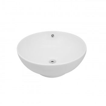 Renovators Supply White Vessel Above Counter Bathroom Sink Round Gloss Finish