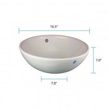 "spec-<PRE>Watts 16 1/2"" Round Countertop Vessel Bathroom Sink White with Overflow</PRE>"