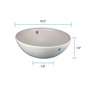 spec-<PRE>Renovator's Supply White Vessel Above Counter Bathroom Sink Round Gloss Finish</PRE>