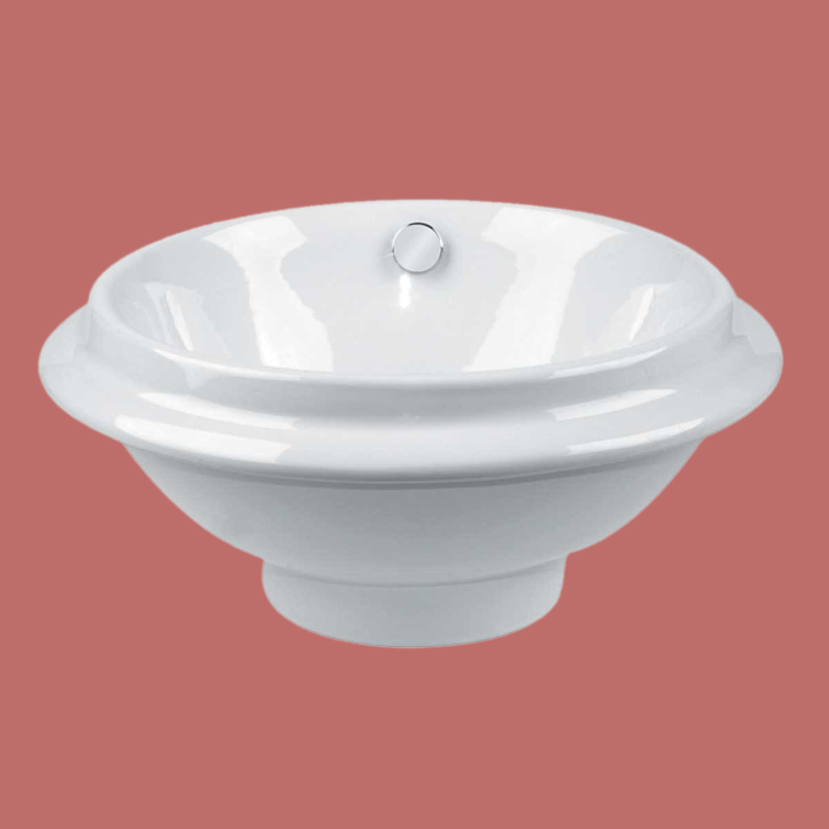 Bathroom Vessel Sink White China Artisan Overflow