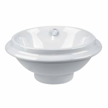 Bathroom Vessel Sink White China Artisan Overflow 13482grid