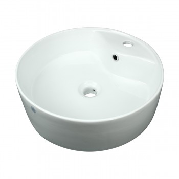 Bathroom Vessel Sink White China Prescott Faucet Hole