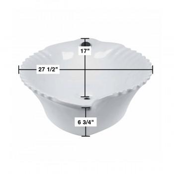 spec-<PRE>Bathroom Vessel Sink White China Leaf Shape </PRE>