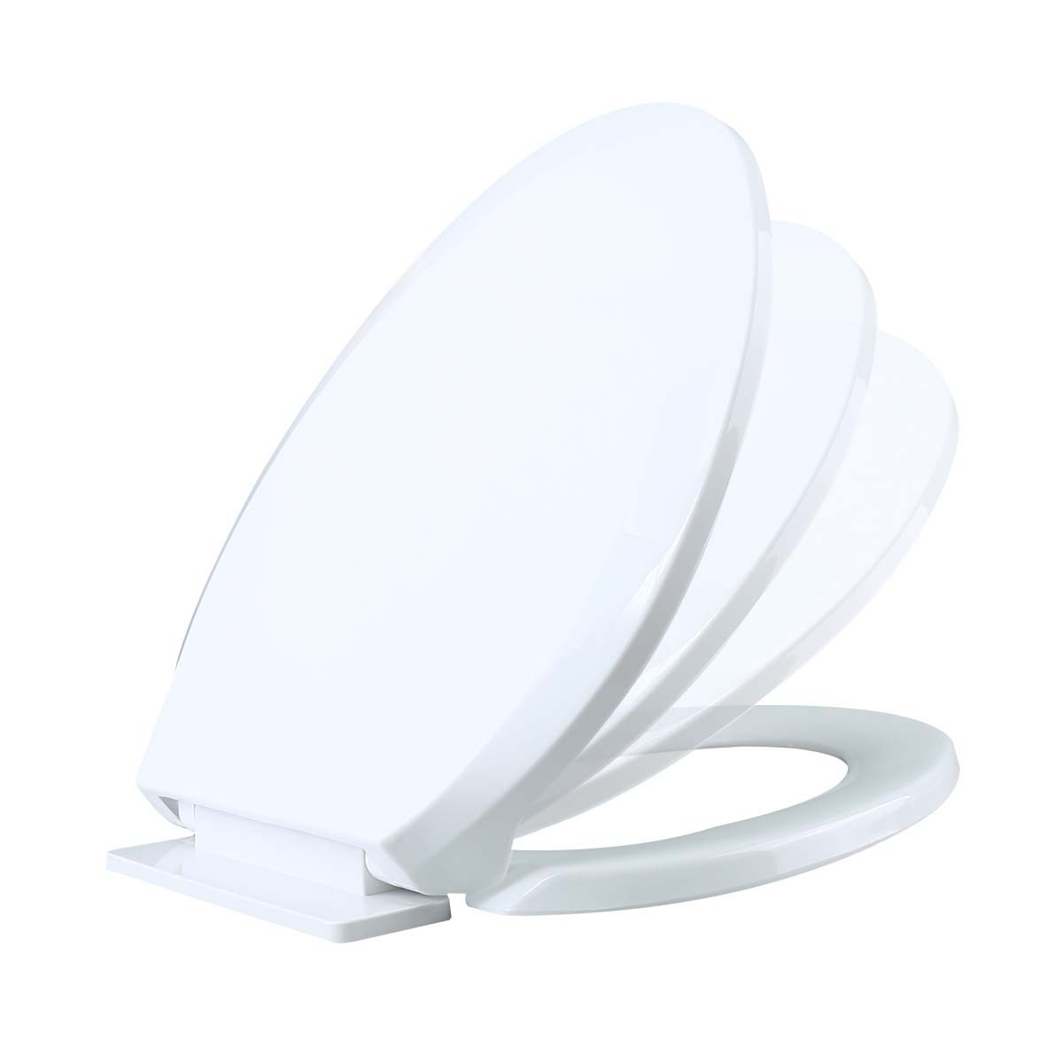 Slow Close No Slam Plastic Elongated Toilet Seat White
