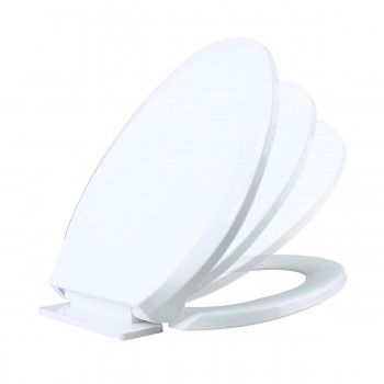 Slow Close No Slam Plastic Elongated Toilet Seat White