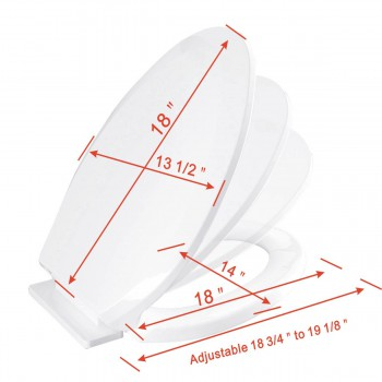 spec-<PRE>Slow Close No Slam Plastic Elongated Toilet Seat White</PRE>