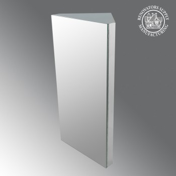 Renovators Supply Polished Stainless Steel Corner Medicine Cabinet Mirror Door Corner Medicine Cabinet Wall Mount Stainless Steel Medicine Cabinet Bathroom Medicine Cabinet with Mirror