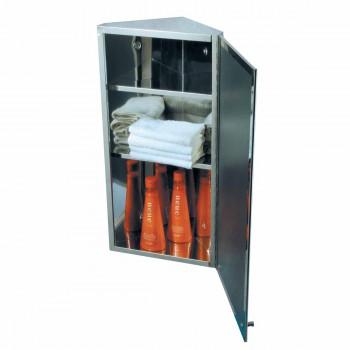 Stainless Steel Polished Corner Medicine Cabinet Mirror Door