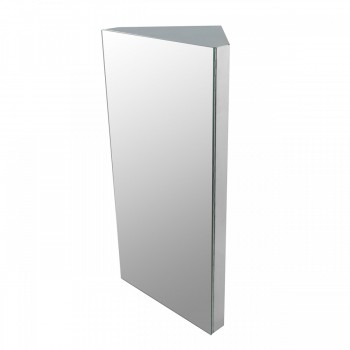 Renovators Supply Polished Stainless Steel Corner Medicine Cabinet Mirror Door