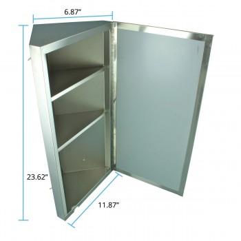 spec-<PRE> Polished Stainless Steel Corner Medicine Cabinet Mirror Door</PRE>