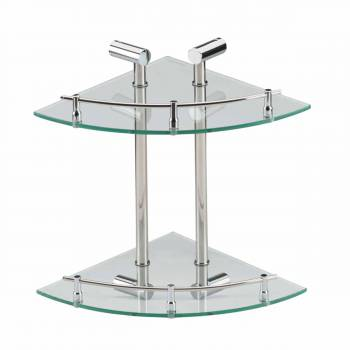 Wall Mount Corner Glass Shelf Dual Tiers Storage Holder 13527grid