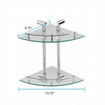 spec-<PRE>Corner Glass Shelf Dual Tiers Wall Mount Storage Holder </PRE>