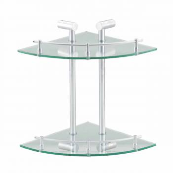 Double Tempered Glass Corner Shelf