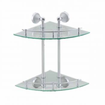 Glass Corner Dual Tiers Shelf Wall Mount Storage Holder Corner Glass Shelf Glass Shower Shelves Floating Glass Corner Shelves