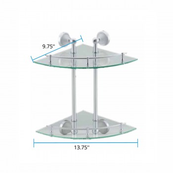 spec-<PRE>Glass Corner Dual Tiers Shelf Wall Mount Storage Holder </PRE>