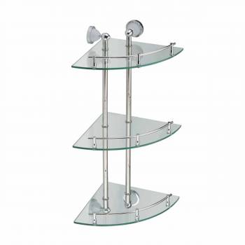 <PRE>Corner Glass Shelf Three Tiers Wall Mount Storage Holder </PRE>