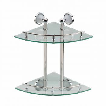 <PRE>Corner Glass Shelf Dual Tiers Wall Mount Storage Holder </PRE>