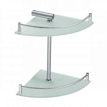 Corner Glass Shelves Dual Tiers Frosted Wall Storage Holder13539grid