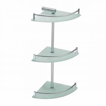 3 Tier Corner Temper Glass Shelves Stainless Steel 13540grid