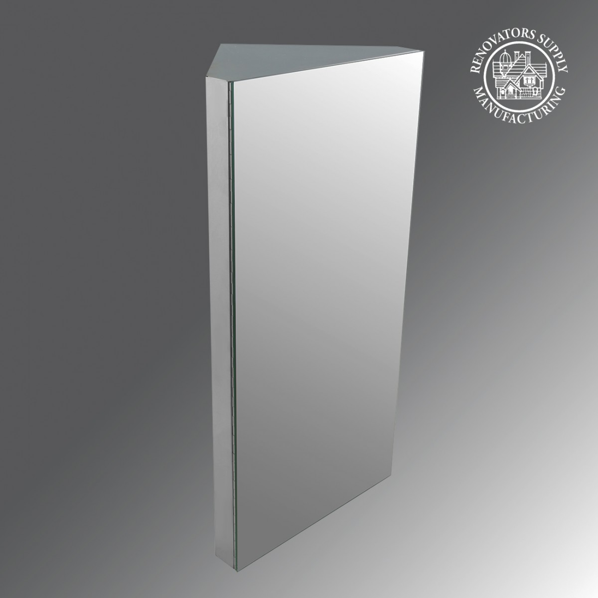 Corner Medicine Cabinet Satin Brushed Stainless Steel
