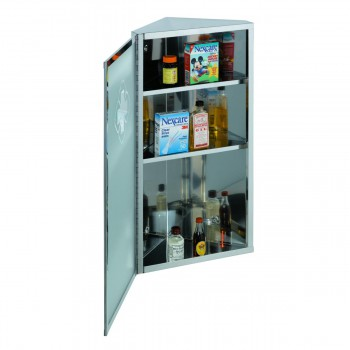 <PRE>Corner Wall Mount Medicine Cabinet Brushed Stainless Steel with Mirror</PRE>