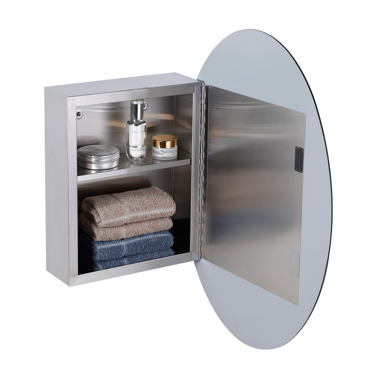 Medicine Cabinet Brushed Stainless Oval Mirror Wall Mount Medicine cabinets bath Stainless Steel Cabinet Metal Cabinet