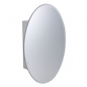 Medicine Cabinet Brushed Stainless Oval Mirror Wall Mount